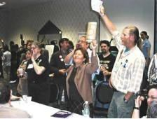 Members of the Green Party caucus vote during the party convention Bemidji, Minnesota June 6 2004